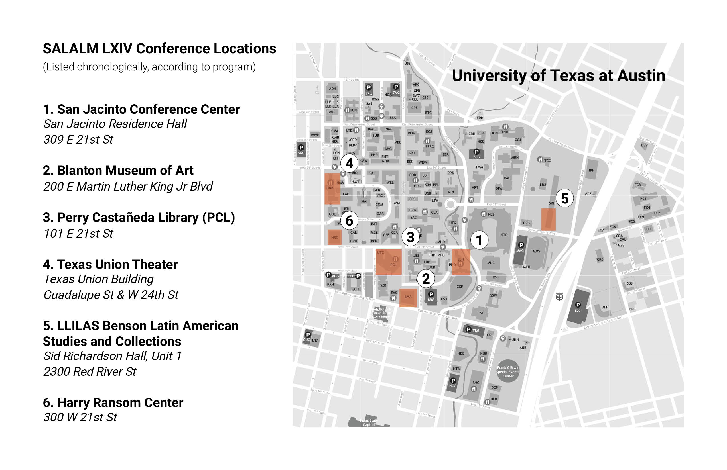 SALALM 2019 Conference Locations